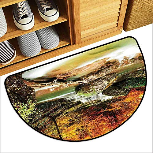 DILITECK Waterproof Door mat Waterfall Autumn Seasonal Woodland Creek Trees Foliage Rocks in Forest Image Non-Slip Backing W31 xL20 Orange Green Pale Brown