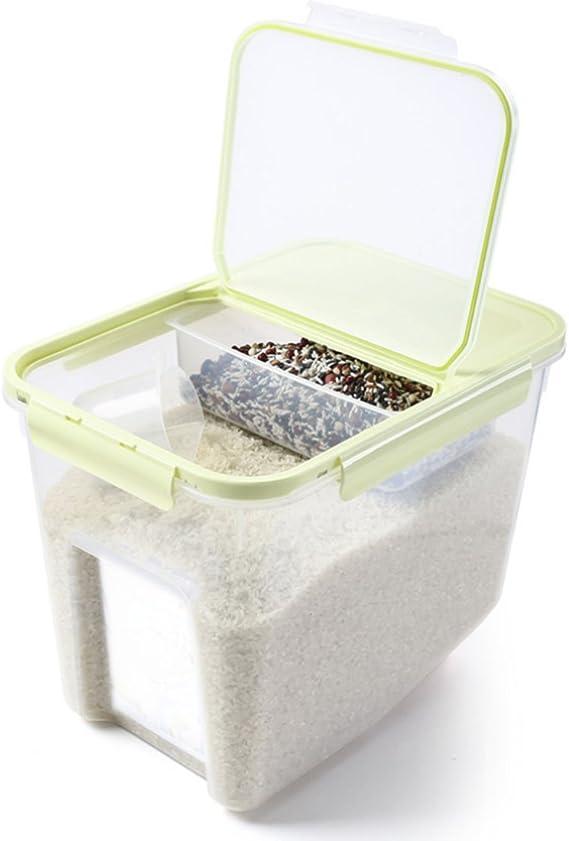 TOPSALE Contenitore per Riso 10 kg 22 Libbre Contenitori per Cereali con Plastica Priva di BPA e Design Ermetico Adatto Grigio