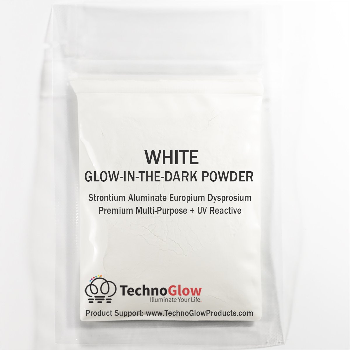 Heavenly White Glow in the Dark & UV Reactive Pigment Powder - 100 Grams by Techno Glow Inc