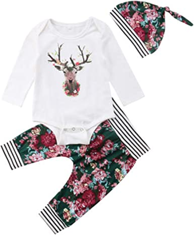 3PCS Xmas Newborn Baby Girl Boy Reindeer Gown Pajamas+Hat+Mittens Warm Outfits