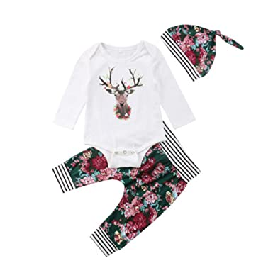 038b0639b677 Amazon.com  Christmas Newborn Baby Boys Girls Deer Tops Romper ...