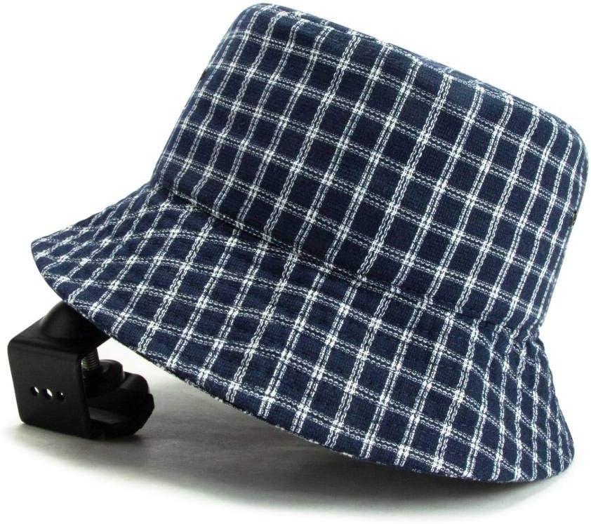 ZCHSLSZ Sombrero De Pescador Mujer, Sombrero De Pescador A Cuadros Azul Retro Sombrero Masculino Femenino Primavera Verano Moda Casual Sombrero para El Sol
