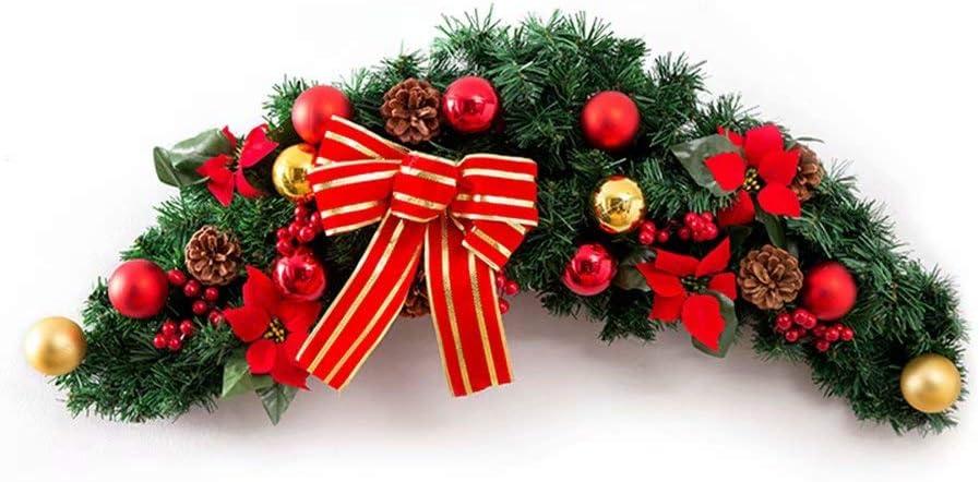 NZBⓇ Guirnalda de Navidad para escaleras Chimeneas Guirnalda de Navidad Guirnalda con Flor de Oro Arco Artificial Decoraciones para árboles de Navidad-120 * 25 cm: Amazon.es: Hogar