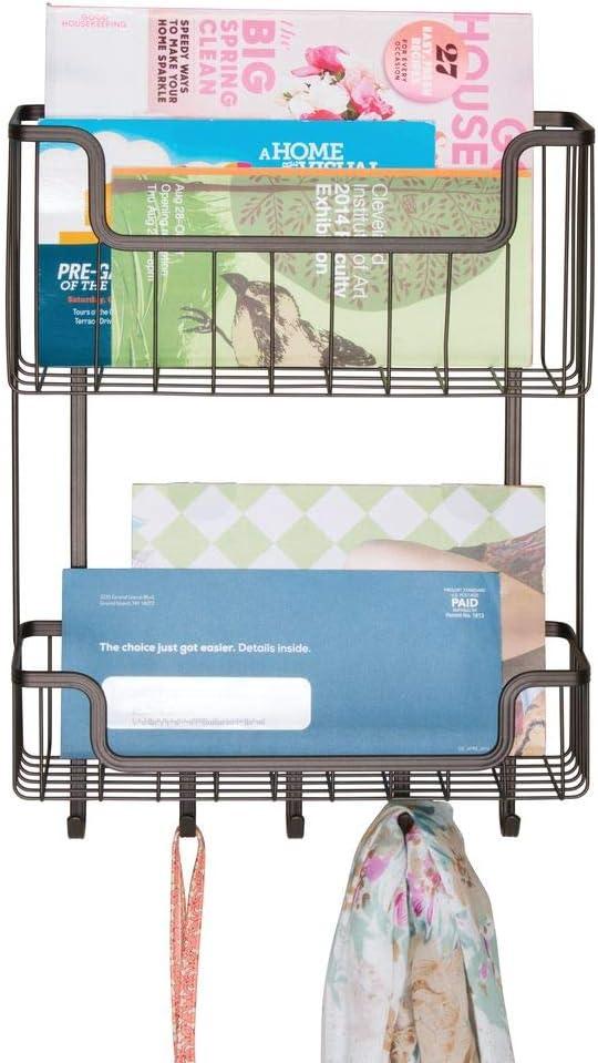 lettres et cl/és pour lentr/ée 2 compartiments la cuisine Bronze Support mural mDesign Porte-courrier