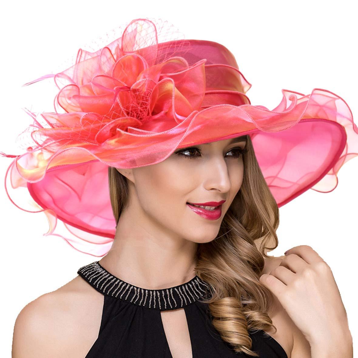 Women Kentucky Derby Church Dress Fascinator Wide Brim Tea Party Wedding Organza Hats S042b (S042-Watermelon) by Ruphedy