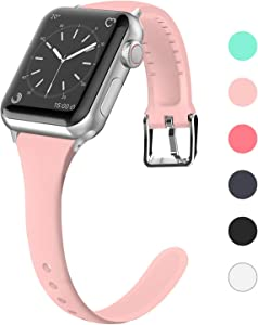 Lwsengme Compatible for Apple Watch Band 38MM 40MM 42MM 44MM, Silicone Slim Women iWatch Bands Wristband Compatible for Apple Watch Series 4 3 2 1 (Pink, 42MM/44MM)
