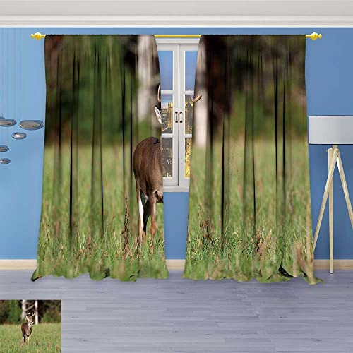 SOCOMIMI Room Darkening Curtains,Whitetail Deer Buck Stand
