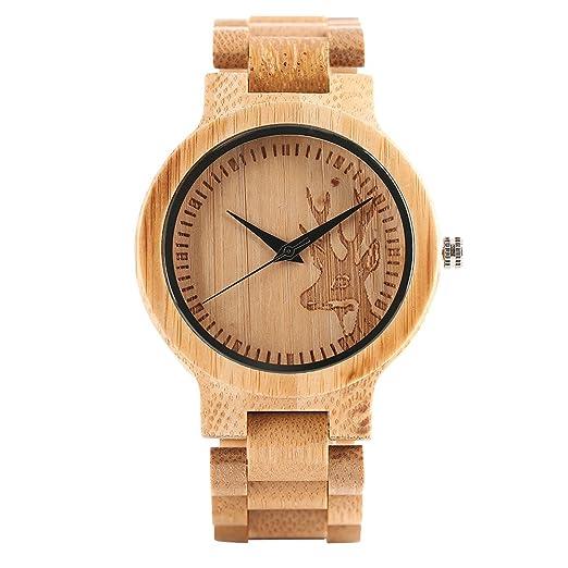 Naturlicher Bambus Holz Uhren Hirsch Kopf Gravieren Zifferblatt