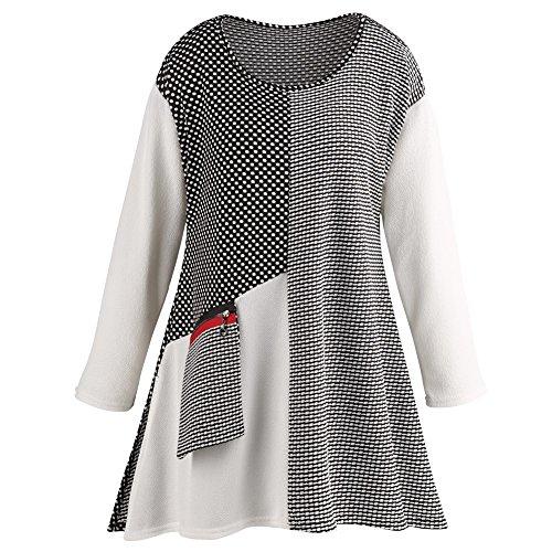CATALOG CLASSICS Women's Tunic Top - Dots Galore Long Sleeve Blouse - Pocket Accent - XXL