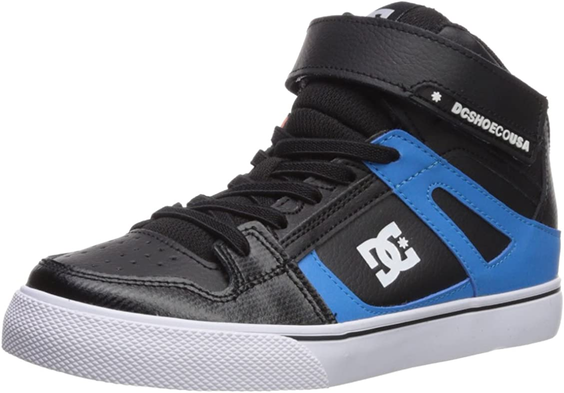 DC Kids Pure High Top EV Skate Shoes with Ankle Strap and Elastic Laces