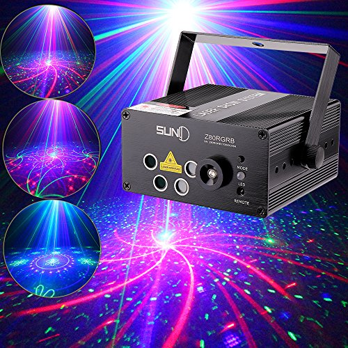 SUNY 5 Len RGB Laser Light Gobo LED Lighting Z80RGRB for DJ Home Show Event Party Decoration Projector