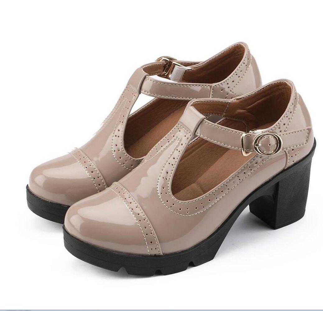 Ezkrwxn Women's Classic T-Strap Platform Mid-Heel Square Toe Oxfords Dress Shoes (777beign39)
