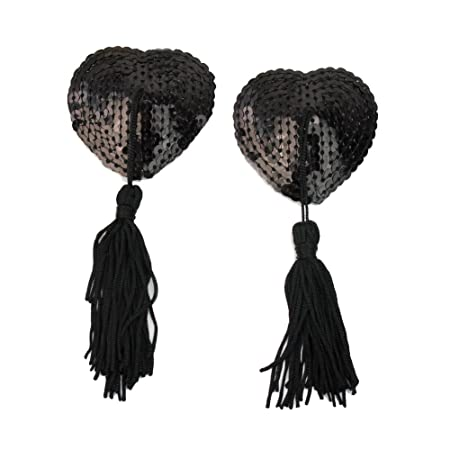 Amazon.com : Refaxi 1 Pair Black Lingerie Sequin Heart-shaped Tassel Breast Bra Nipple Cover Pasties : Body Makeup : Beauty
