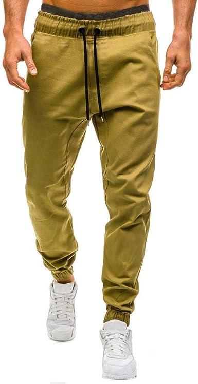 Pantalones Hombre, Hombres elástico puños Casuales cordón ...