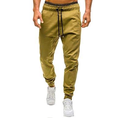❤️LILICAT Hommes Automne Hiver Casual Tether Élastique Design Pantalon  Hommes Occasionnels String élastiques Pantalons de df5d4ba7153
