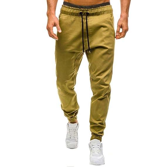 Pantalón Deportivo Pantalones Hombre Suelto Casuales Jogger Hip Hop Estilo Urbano Chándal de Hombres con Cinturón