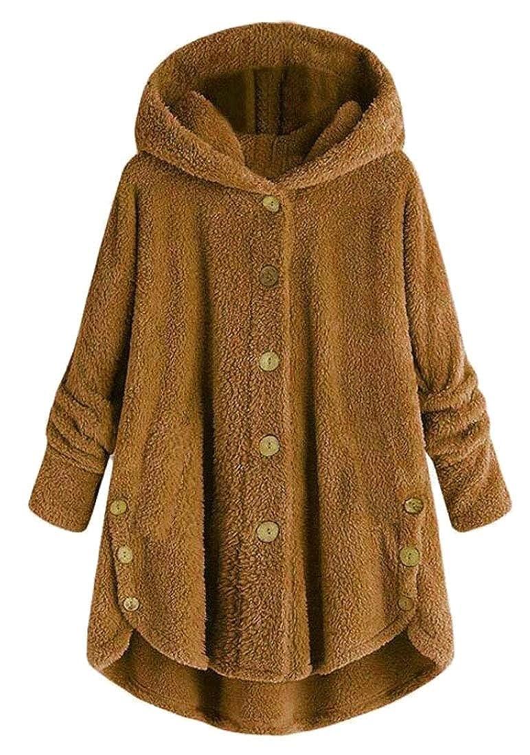 pujingge-CA Women's Long Sleeves Winter Button Down Hood Jacket Fuzzy Jackets