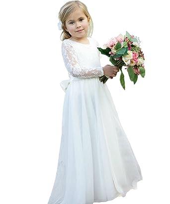 9c23211b2bd Amazon.com  Gzcdress Boho Flower Girls Dresses Long Sleeves Lace Beach  Chiffon Summer Children Wedding Party Dress  Clothing