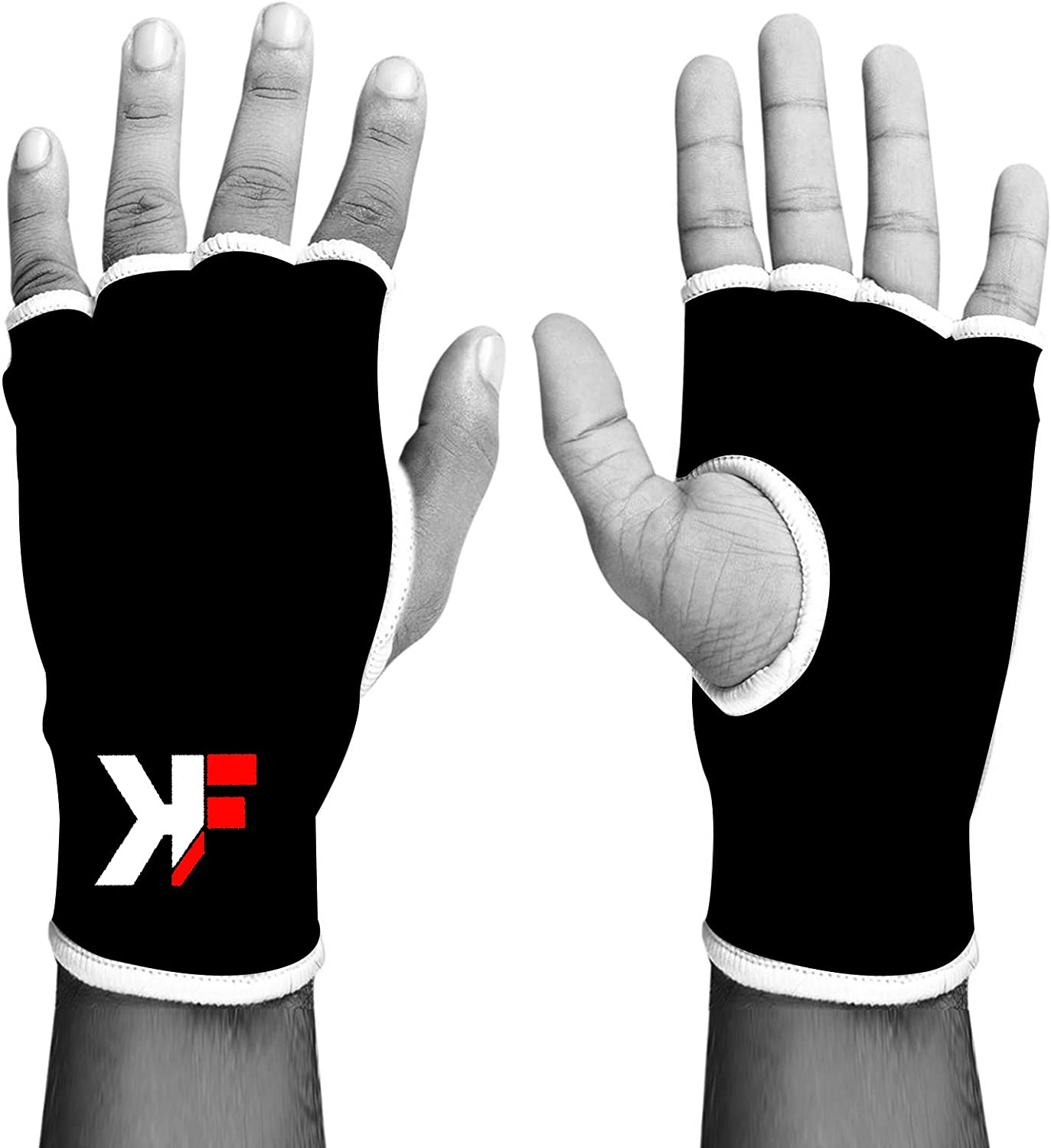 KIKFIT Elasticated Inner Gloves MMA Fist Protector Hand Support Martial Arts Muay Thai Boxing Bandages Injury Joint Pain Arthritis Tendon Mitts Black Pink Black, S//M