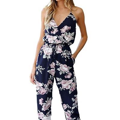 Juleya Romper été des femmes Boho imprimé floral sexy col V Plage Combinaions Élégant Large Jambe Long Pantalon Party Combinaisons Romper Sundresses S - XL