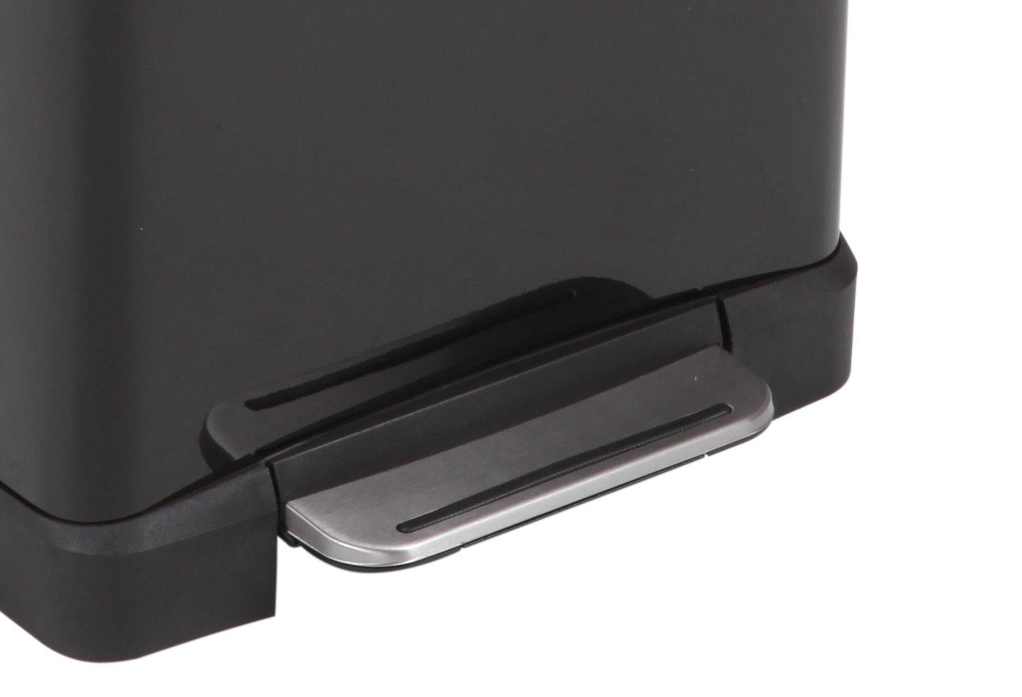 Metallo 34.5 x 50 x 65 cm Eko Pattumiera a Pedale e di Cube Metallo Nero Opaco