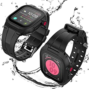 Apple Watch Waterproof Case for 44mm Apple Watch Series 6/5/4/SE, Tripirit Waterproof Shockproof Impact Resistant Rugged Protective Case with Built-in Screen Protector Premium Soft Strap Bands Black