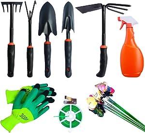 JUNJUN Garden Tools Set, 9 Piece Cast- Duty Gardening Kit Includes Hand Trowel, Transplant Trowel and Cultivator Hand Rake with Soft Rubberized Non-Slip Ergonomic Handle, Garden Gifts