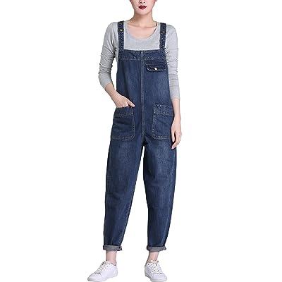 Gihuo Women's Baggy Denim Jean Overalls: Clothing