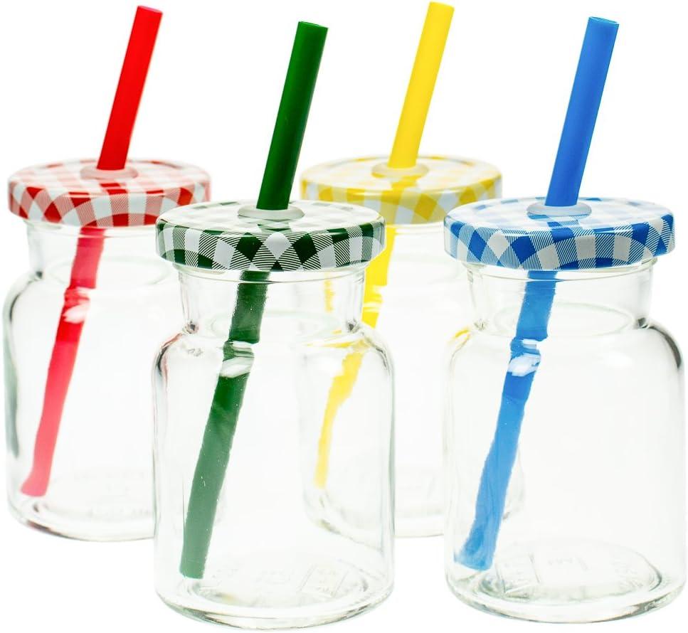 4er Set Trinkglas mit Strohhalm und Deckel 150 ml Limonadengl/äser oder Eistee Glas