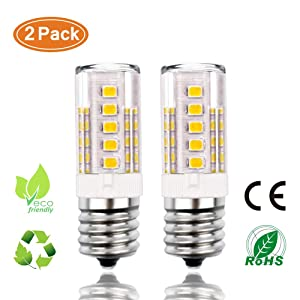 E17 LED Bulb, Microwave Light Bulbs 4W, Kinper Oven Appliance Light Bulb 400LM, 40W Halogen Bulb Equivalent, Non-Dimmable Ceramic Corn Bulbs for Over The Counter Range Hood, Warm White 3000K(2-Pack)