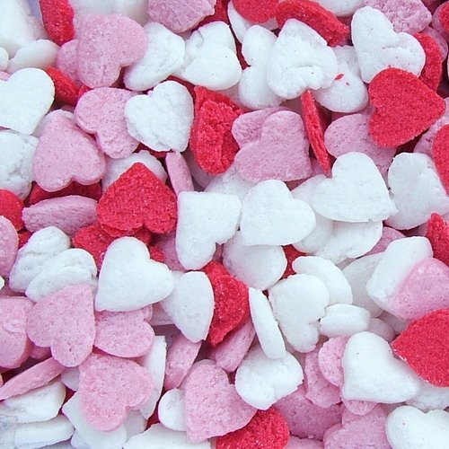 Natural Red/White/Pink Gluten GMO Nuts Dairy Soy Free Confetti Valentine Hearts Bulk Pack.  by Quality Sprinkles