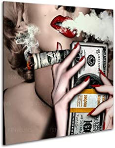 RINWUNS Wall Art Burned Money Monroe Red Lip with Cigar Canvas Print Poster Wall Painting Artwork Picture Framed Modern Home Decor for Living Room Bedroom Ready to Hang 1 PC 12x12inch