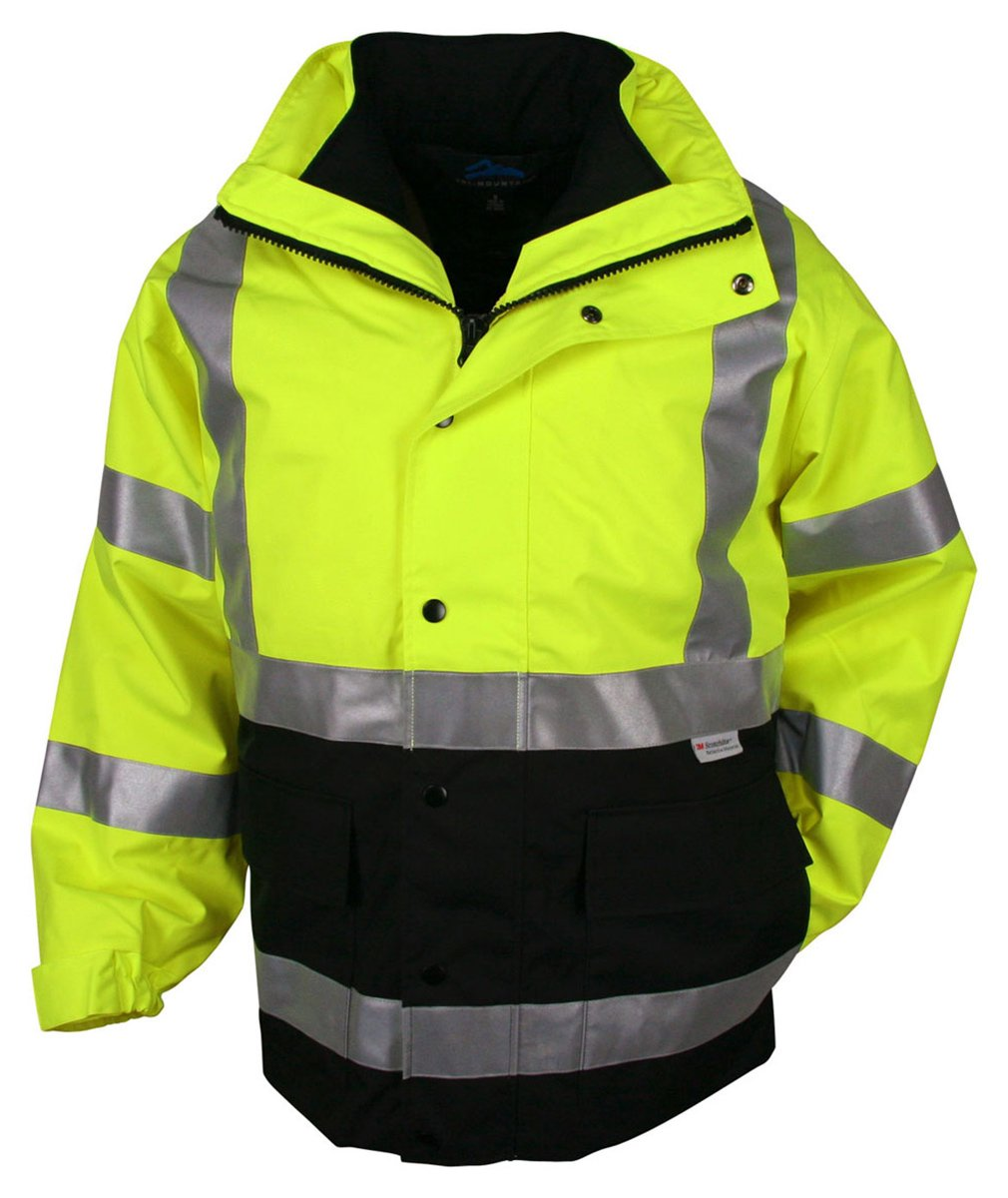 Tri-mountain 3-in-1 system waterproof safety parka. ANSI Class 3. - LIME GREEN/BLACK - X-Large