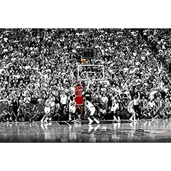 Poster michael jordan chicago bulls last shot 1998 basketball sports print 24in x 36in