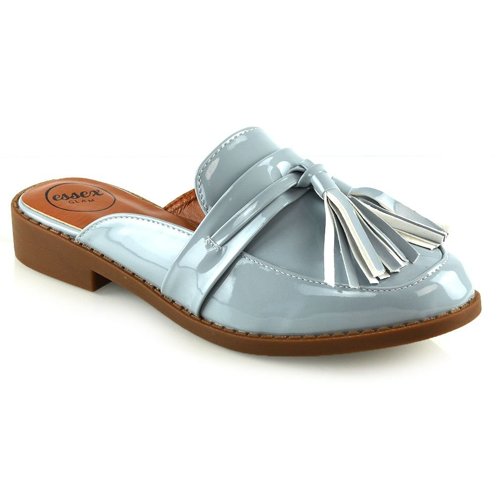 ESSEX GLAM Womens Slip On Shoes Ladies Grey Patent Backless Tassel Casual Loafer Shoes 5 B(M) US