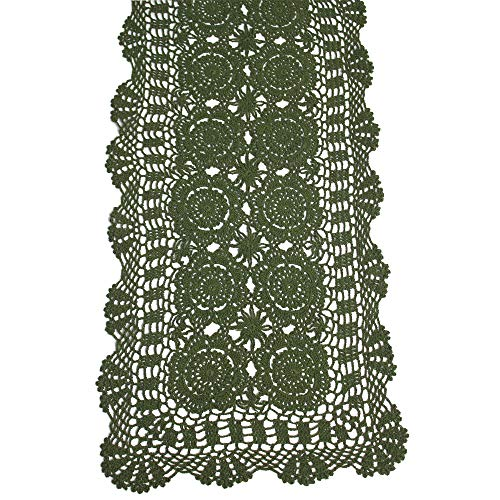KEPSWET Cotton Handmade Crochet Lace Table Runner Olive Green Rectangle Coffee Table Dresser Decor (14x54 inch) (Green Dresser Rustic)