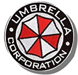 "[Single Count] Custom and Unique (3'' x 3'') Round ""Gaming"" Resident Evil Umbrella Corporation Morale Design w/ Border Iron/Sew On Embroidered Applique Patch {Black, White, & Red Colors} [Licensed]"