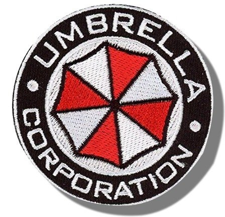 "[Single Count] Custom and Unique (3'' x 3'') Round ""Gaming"" Resident Evil Umbrella Corporation Morale Design w/ Border Iron/Sew On Embroidered Applique Patch {Black, White, & Red Colors} [Licensed] by Patch Squad USA"