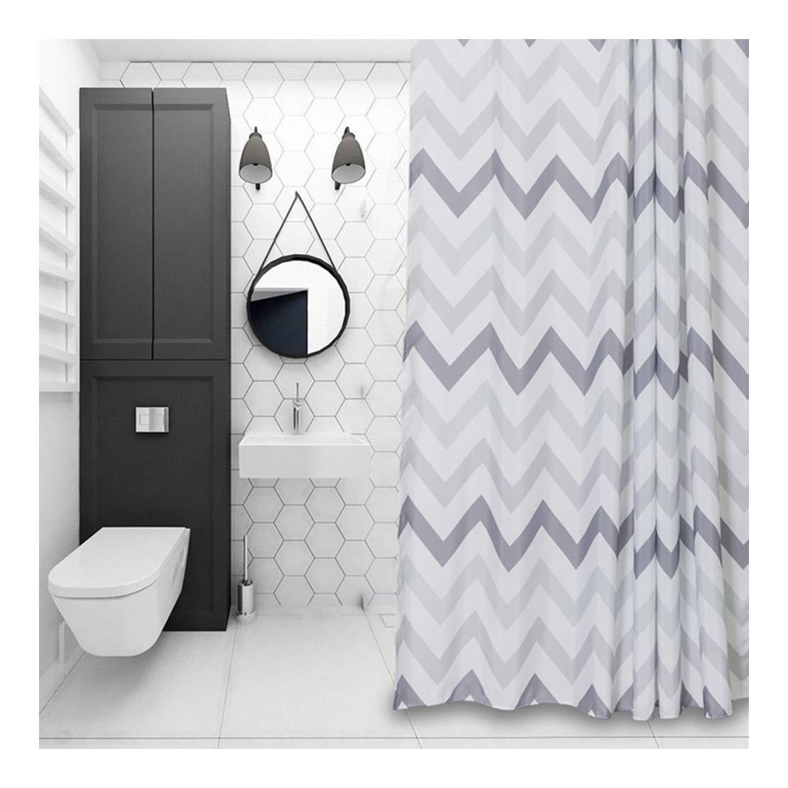 Amazon Aimjerry Chevron Fabric Shower Curtain GreyWhiteStriped Mold Resistant 72 X 72Geometric Home Kitchen