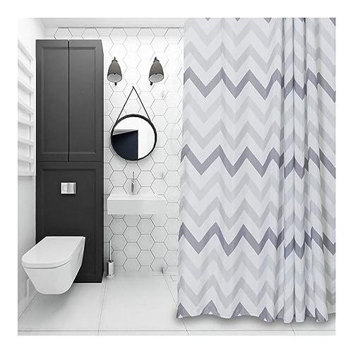 Aimjerry Chevron Fabric Shower Curtain GreyWhiteStriped Mold Resistant 180 X Cm