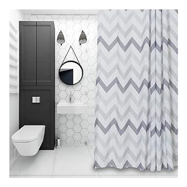 Aimjerry Chevron Fabric Shower Curtain Grey,White,Striped Mold Resistant 72  x 72 ,Geometric