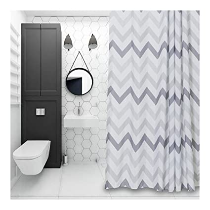 Amazon Aimjerry Chevron Fabric Shower Curtain GreyWhite