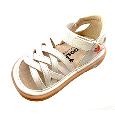 03e4e49f3d Mooshu Trainers Little Girls White Strappy Closed Heel Trudy Sandals 5  Toddler