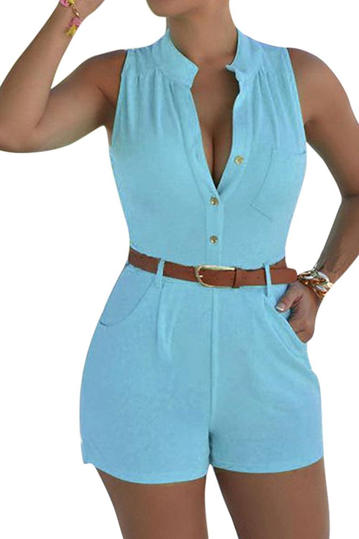 Wholesale Elosele Women's Deep V Neck Button Up Sleeveless Short Romper Jumpsuit With Belt free shipping