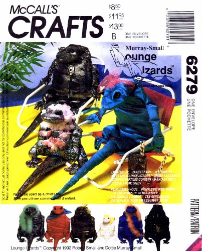 - McCall's 6279 Sewing Pattern Stuffed Lounge Lizards