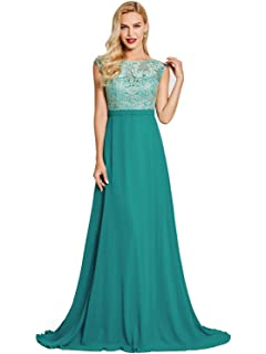 Tanpell Womens Chiffon Long Evening Party Dress Lace Prom Gown