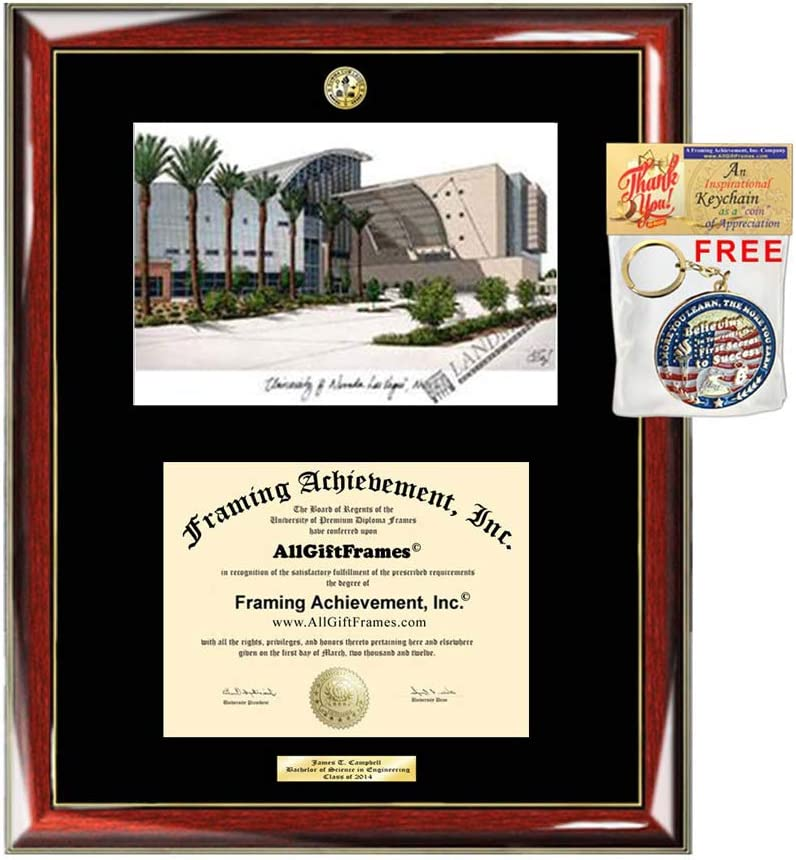 University of Nevada Las Vegas Diploma Frame School Lithograph Major Logo UNLV Graduation Degree Display Graduate Gift Black Matted University Image Frames
