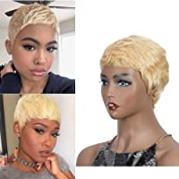 Lekker Short Human Hair Pixie Wigs Blonde Pixie Cut Wig for Black Women with Side Bangs Boy Cut Natural Short Wig with Bang (9
