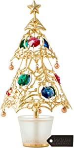 Matashi 24K Gold Plated Crystal Studded Christmas Tree Home Decorative Tabletop Hanging Ornament (Gold with Colored Crystals)
