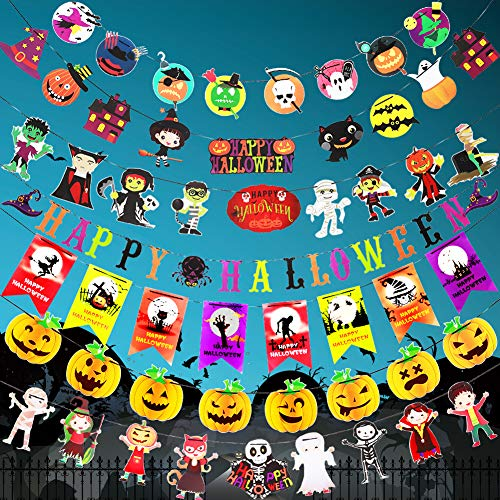 Halloween Banner Set, Angela&Alex 7 Set Halloween Paper Garland Supplies Banner Kit Paper Pull Pumpkin Ghost Skull Bat Party Favors Decoration Dress Up -